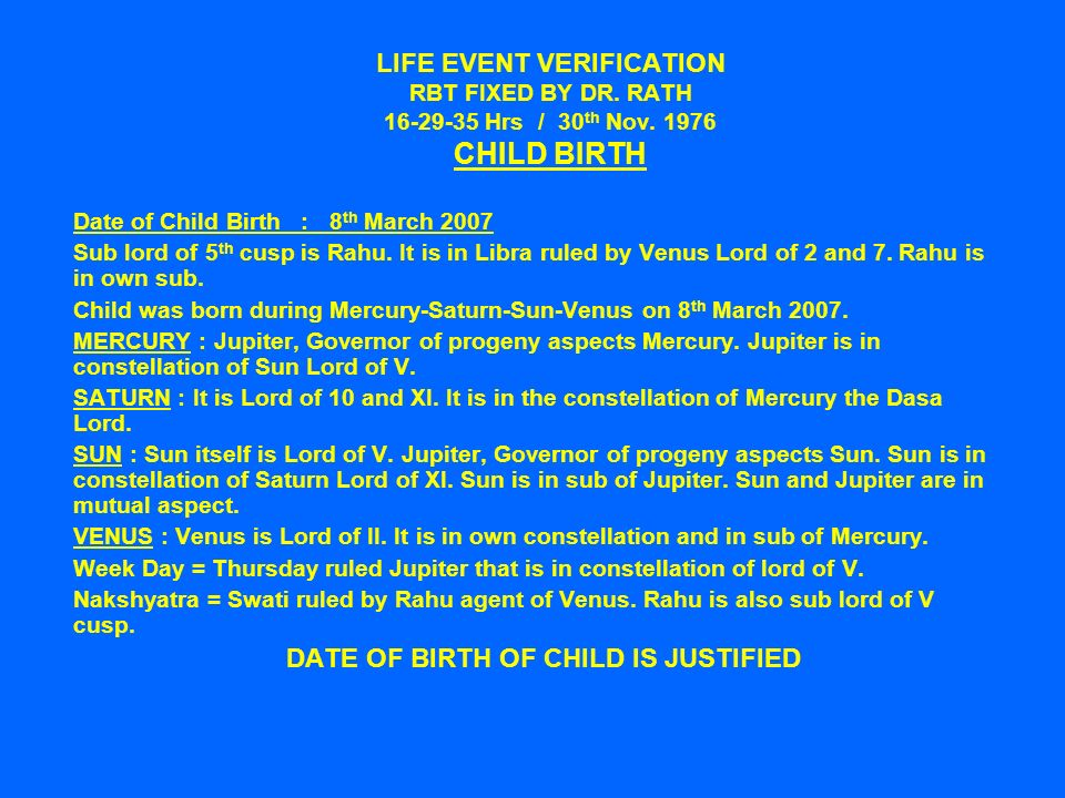 LIFE EVENT VERIFICATION RBT FIXED BY DR. RATH Hrs / 30 th Nov.