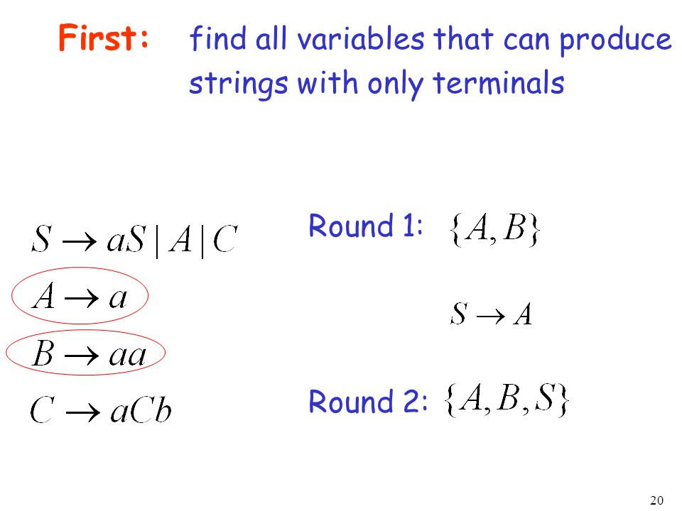 20 First: find all variables that can produce strings with only terminals Round 1: Round 2:
