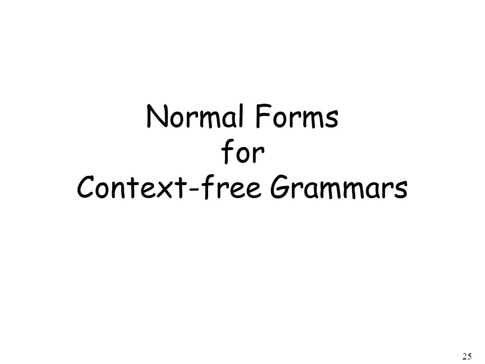 25 Normal Forms for Context-free Grammars