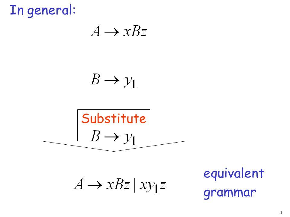 4 In general: Substitute equivalent grammar