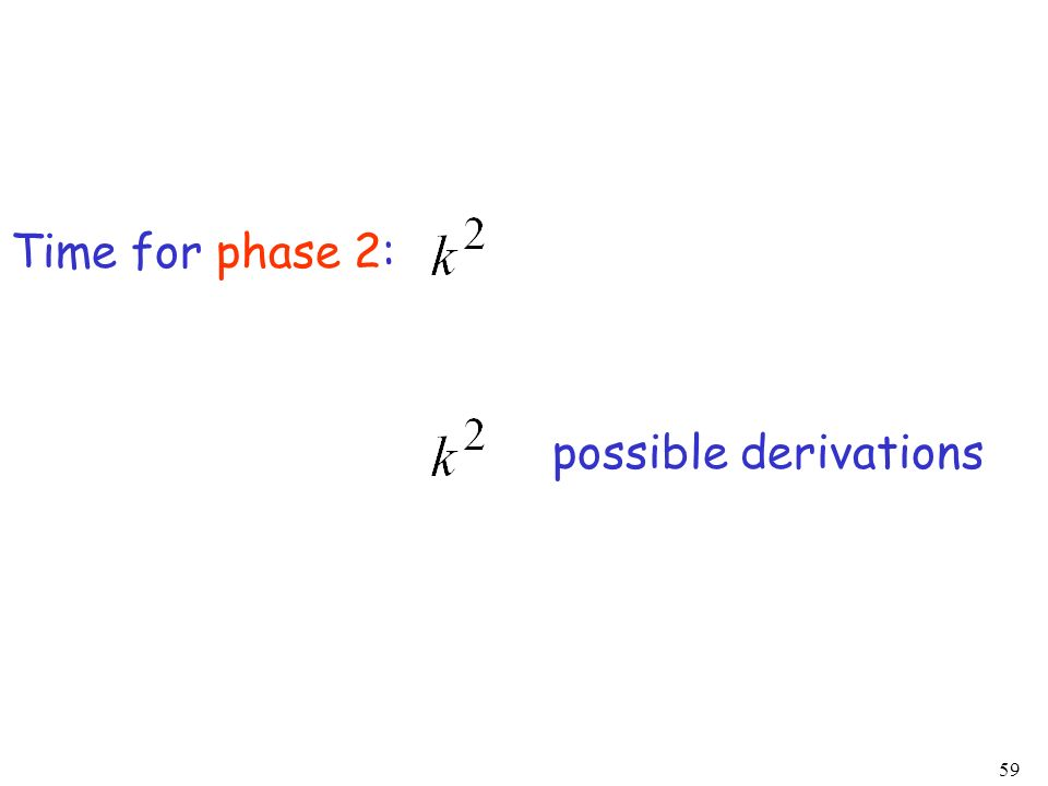 59 Time for phase 2: possible derivations