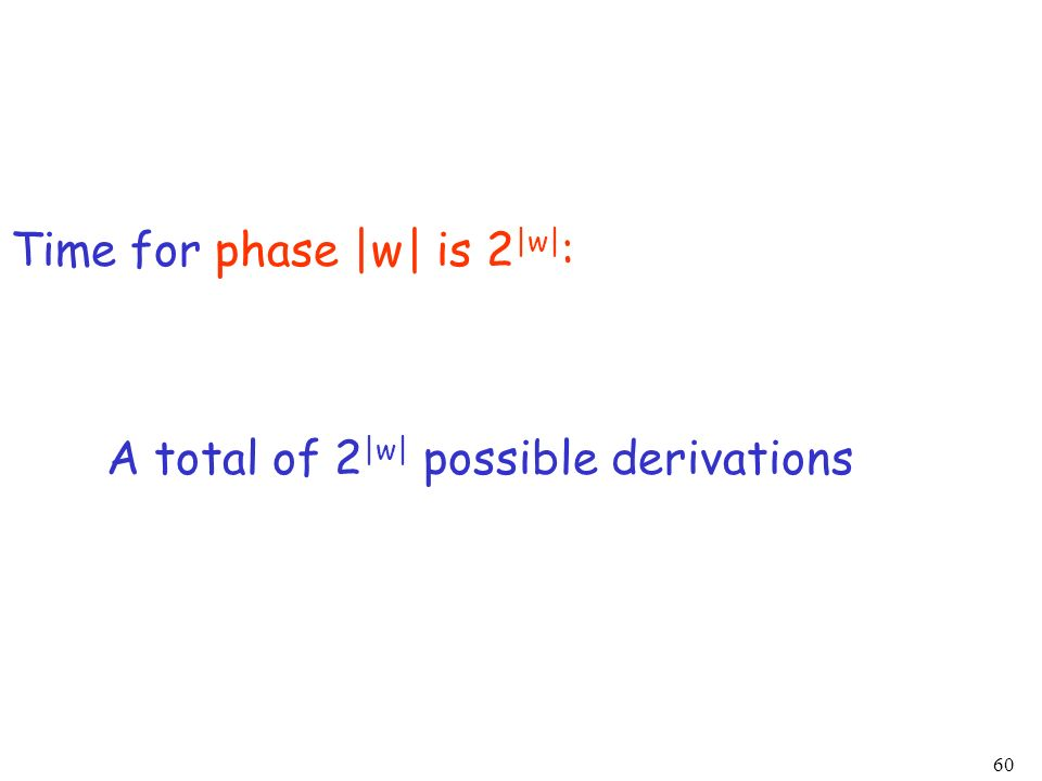 60 Time for phase |w| is 2 |w| : A total of 2 |w| possible derivations