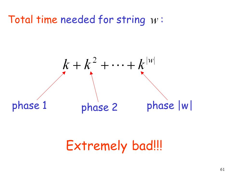 61 Total time needed for string : Extremely bad!!! phase 1 phase 2 phase |w|