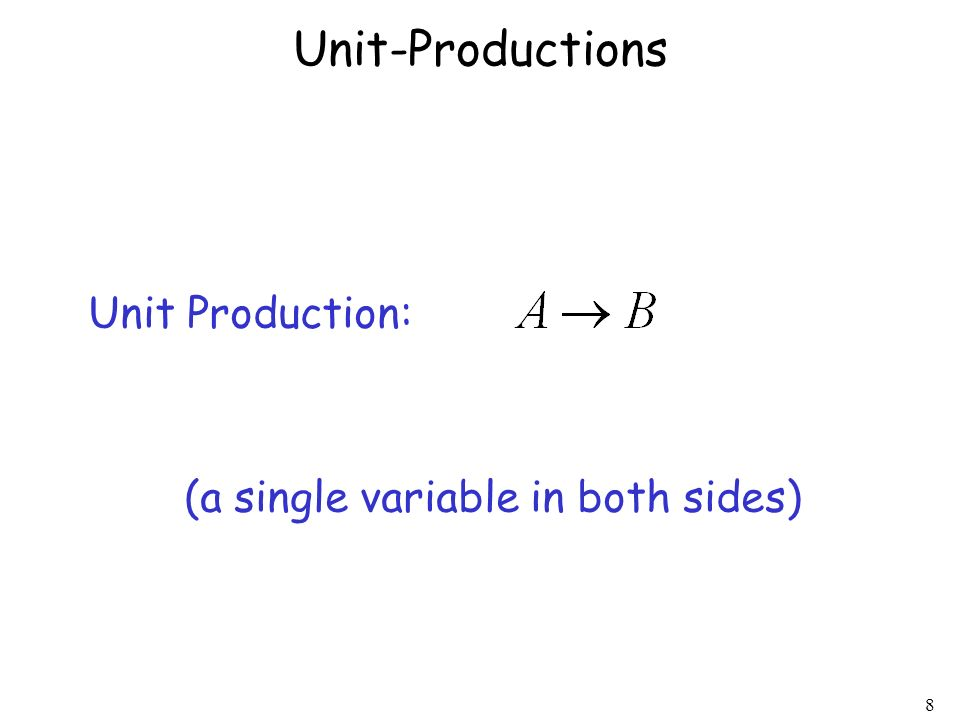 8 Unit-Productions Unit Production: (a single variable in both sides)