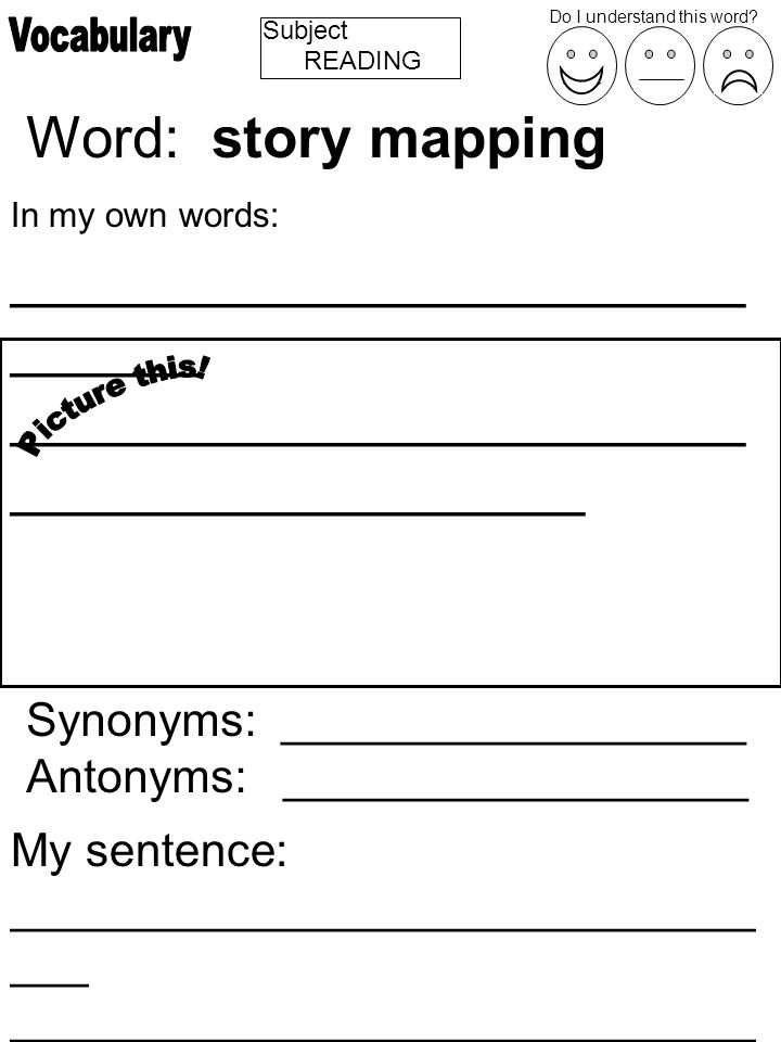 Subject Word: story mapping In my own words: _______________________ ______ _______________________ __________________ Synonyms: __________________ Antonyms: __________________ My sentence: _____________________________ ___ _____________________________ ________________ Do I understand this word.