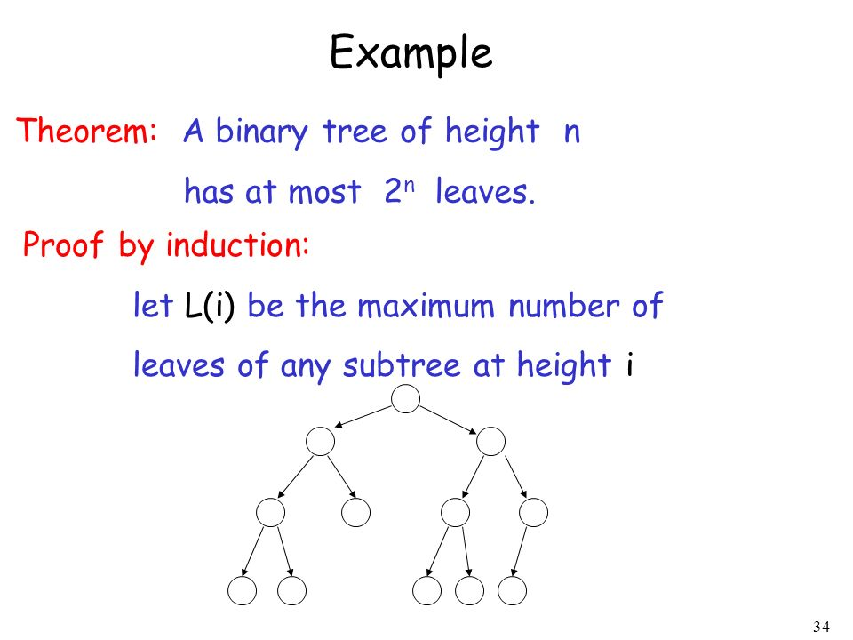 34 Example Theorem: A binary tree of height n has at most 2 n leaves. Proof by induction: let L(i) be the maximum number of leaves of any subtree at h