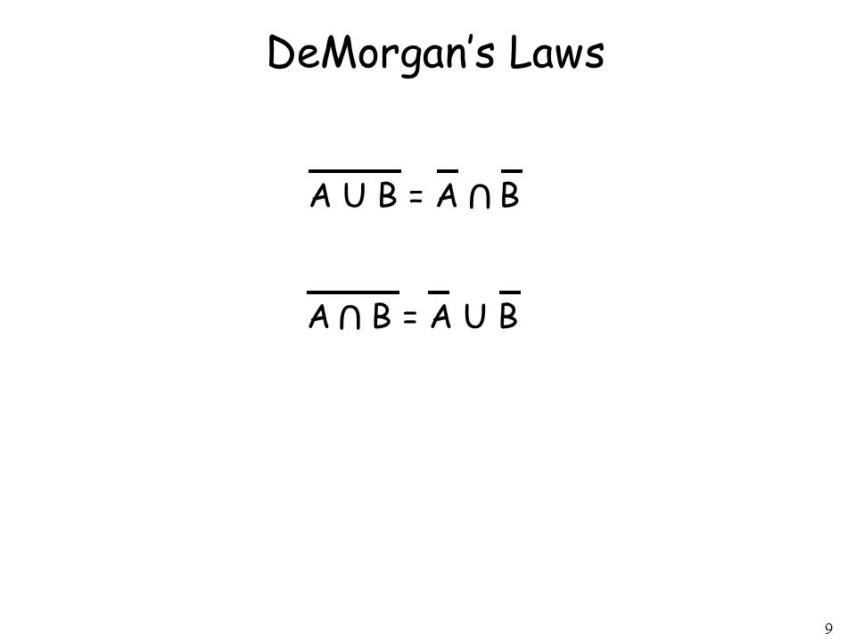 9 DeMorgans Laws A U B = A B U A B = A U B U