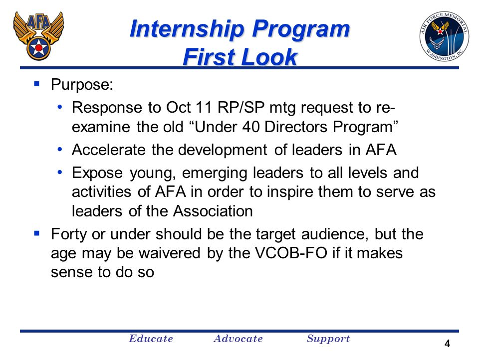 Educate Advocate Support Internship Program First Look Purpose: Response to Oct 11 RP/SP mtg request to re- examine the old Under 40 Directors Program
