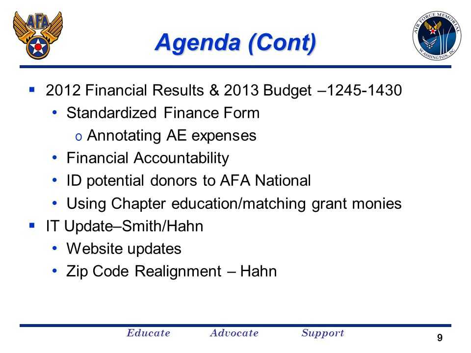 Educate Advocate Support Agenda (Cont) 2012 Financial Results & 2013 Budget –1245-1430 Standardized Finance Form o Annotating AE expenses Financial Ac