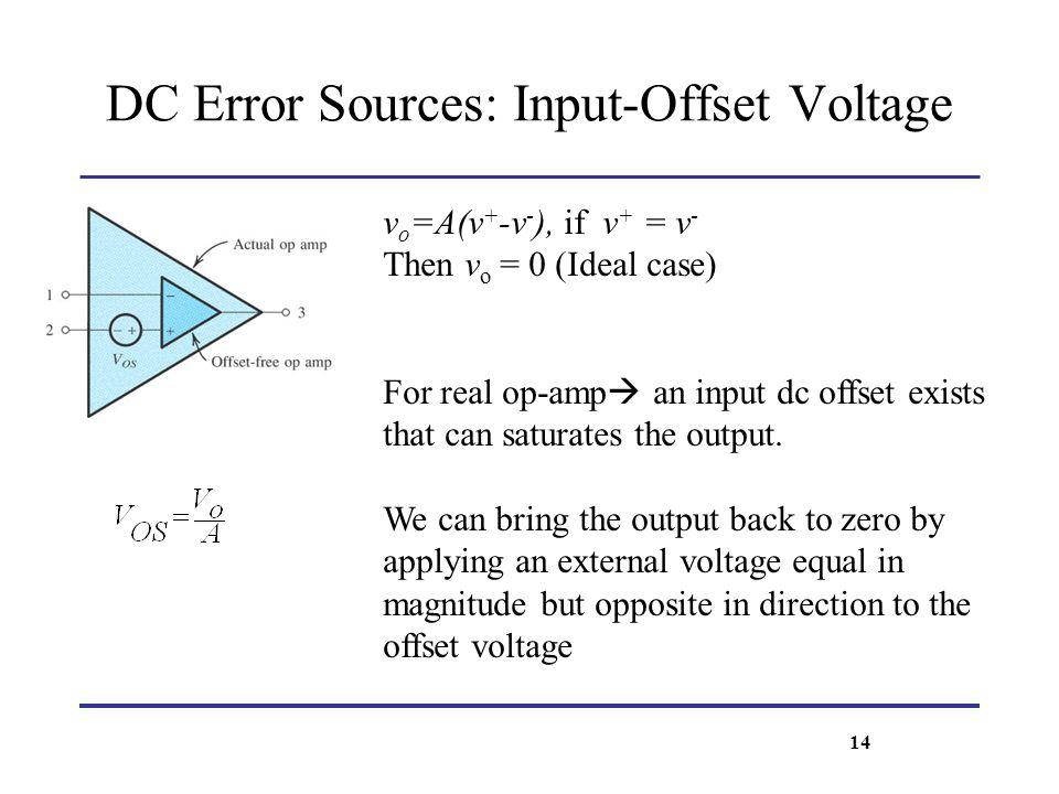 DC Error Sources: Input-Offset Voltage v o =A(v + -v - ), if v + = v - Then v o = 0 (Ideal case) For real op-amp an input dc offset exists that can sa