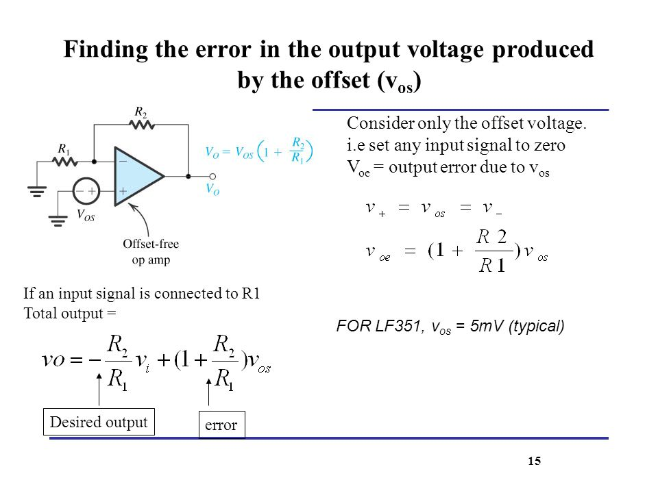 Finding the error in the output voltage produced by the offset (v os ) Consider only the offset voltage. i.e set any input signal to zero V oe = outpu