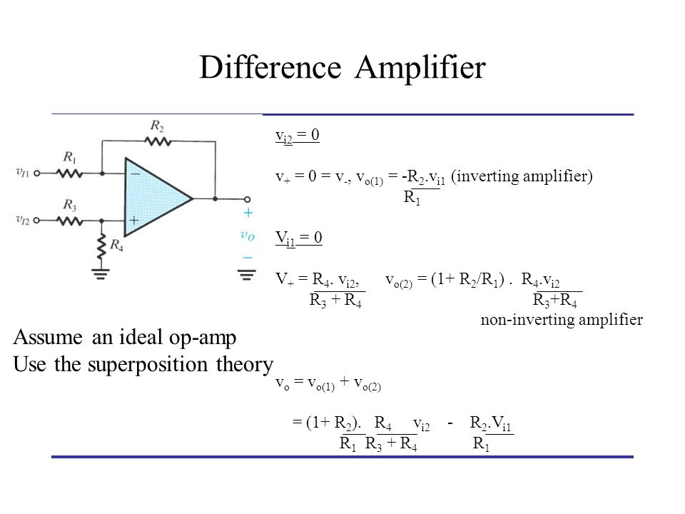 Difference Amplifiers In order to provide equal gain for both inputs v o = -R 2 /R 1 (v 1 – v 2 ) (1 + R 2 ).