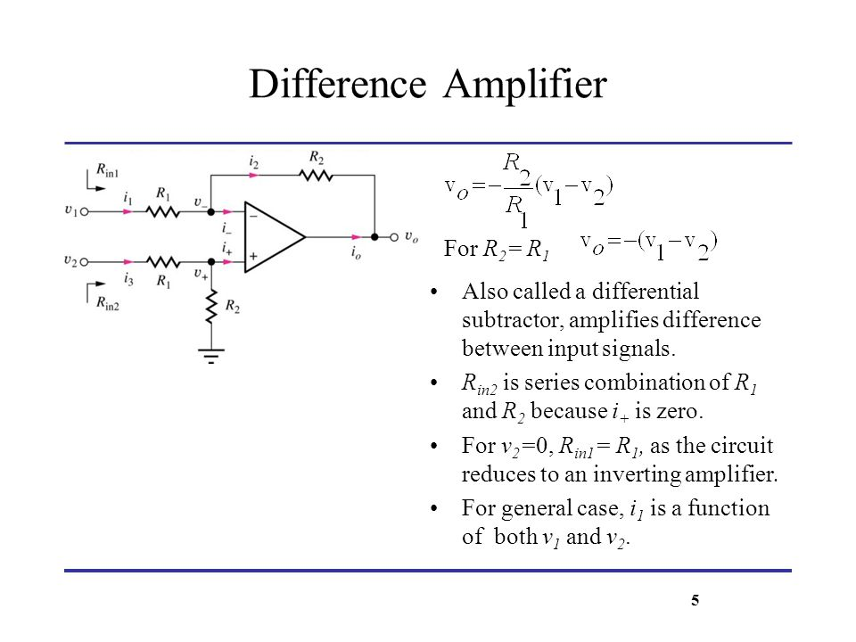 Difference Amplifier v icm, and v id are another representation for the inputs v o = A d v id + A cm v icm Differential gain Common-mode gain For the ideal case, v o = -R 2 /R 1 (v 1 – v 2 ) = (-R 2 /R 1 ).v id + 0 A d = -R 2 /R 1, and A cm = 0 If balance condition is not satisfied, (R 4 /R 3 R 2 /R 1 ) Then A cm 0 v id = v 1 – v 2 differential input voltage v icm = (v 1 + v 2 )/2 Common-mode input voltage Define