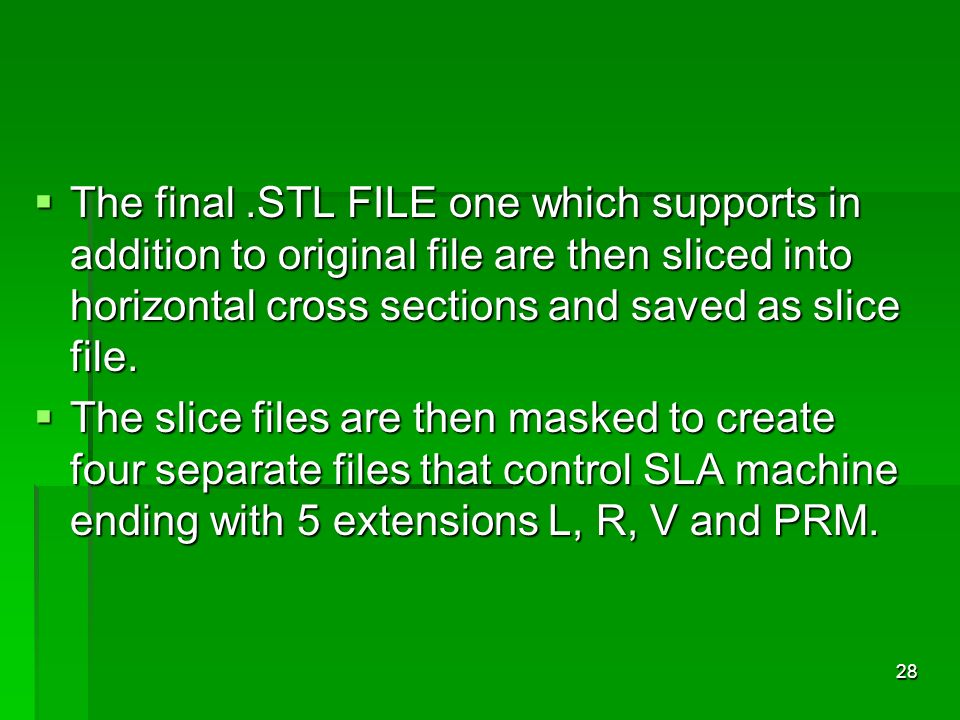 The final.STL FILE one which supports in addition to original file are then sliced into horizontal cross sections and saved as slice file. The final.S