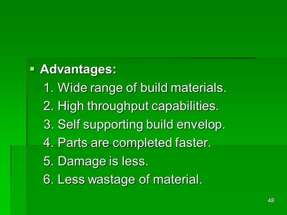 Advantages: Advantages: 1. Wide range of build materials. 1. Wide range of build materials. 2. High throughput capabilities. 2. High throughput capabi