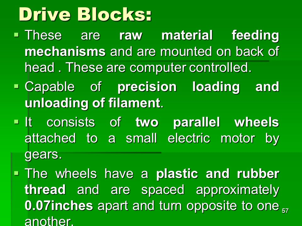 Drive Blocks: These are raw material feeding mechanisms and are mounted on back of head. These are computer controlled. These are raw material feeding