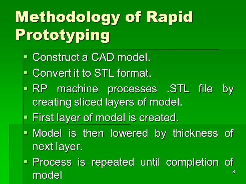 Methodology of Rapid Prototyping Construct a CAD model. Construct a CAD model. Convert it to STL format. Convert it to STL format. RP machine processe