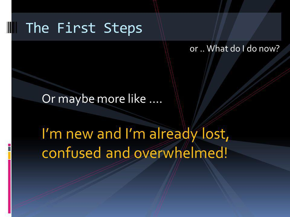 or.. What do I do now. The First Steps Or maybe more like ….