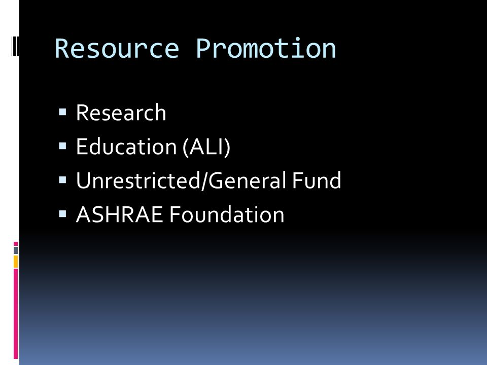 Resource Promotion Research Education (ALI) Unrestricted/General Fund ASHRAE Foundation