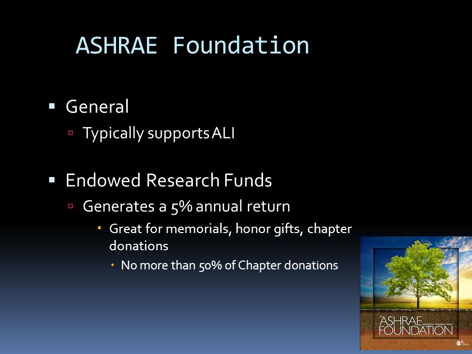 ASHRAE Foundation General Typically supports ALI Endowed Research Funds Generates a 5% annual return Great for memorials, honor gifts, chapter donations No more than 50% of Chapter donations