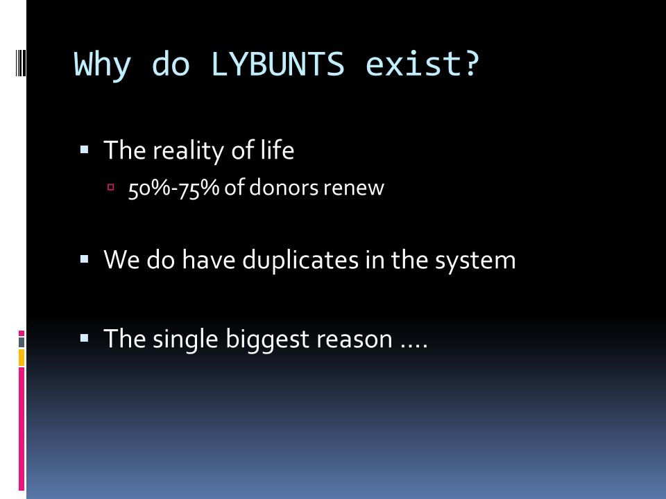 Why do LYBUNTS exist.