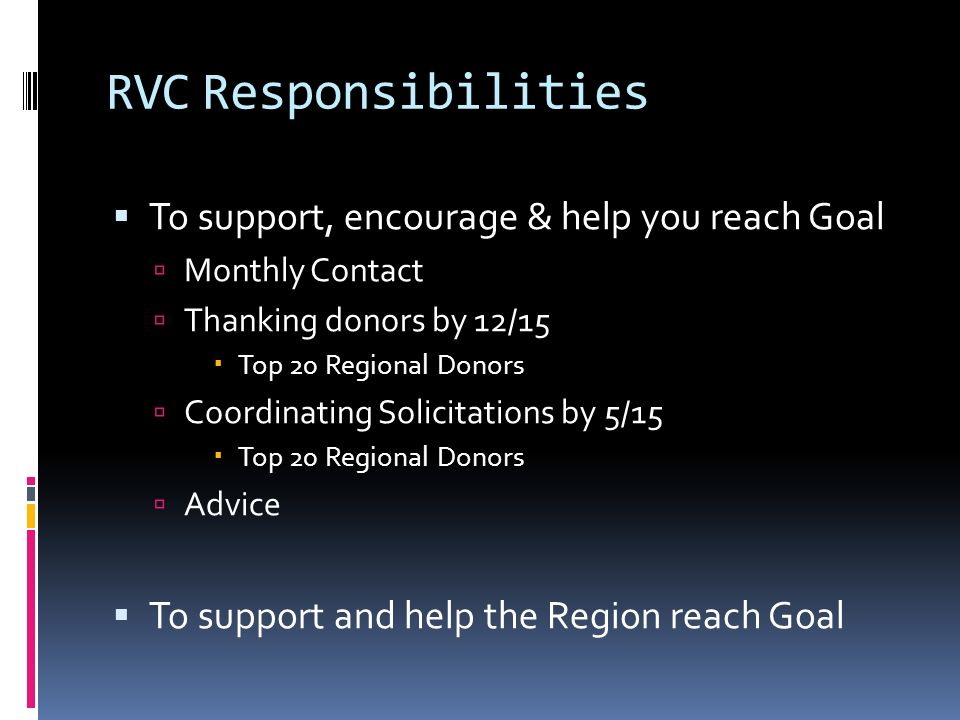 RVCResponsibilities To support, encourage & help you reach Goal Monthly Contact Thanking donors by 12/15 Top 20 Regional Donors Coordinating Solicitations by 5/15 Top 20 Regional Donors Advice To support and help the Region reach Goal