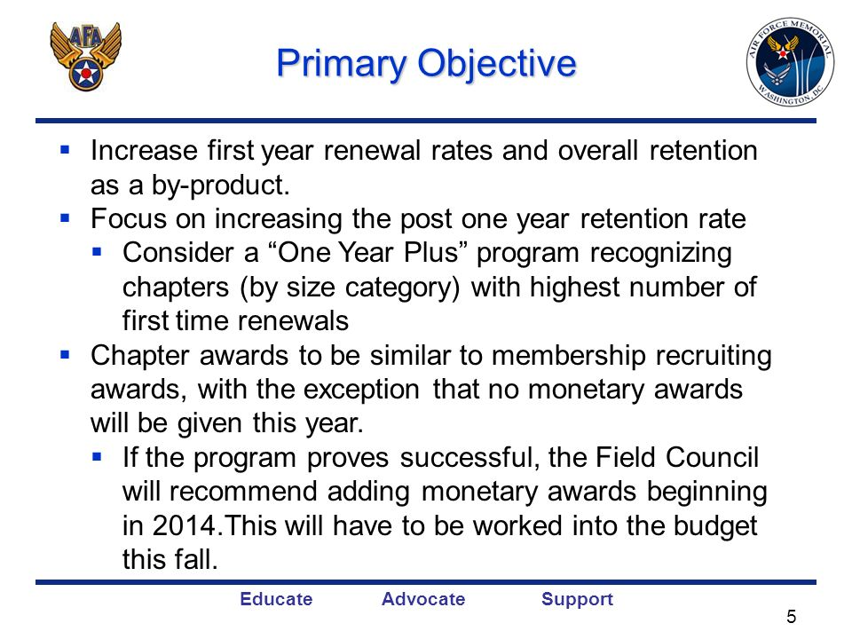 Educate Advocate Support Primary Objective Increase first year renewal rates and overall retention as a by-product. Focus on increasing the post one y