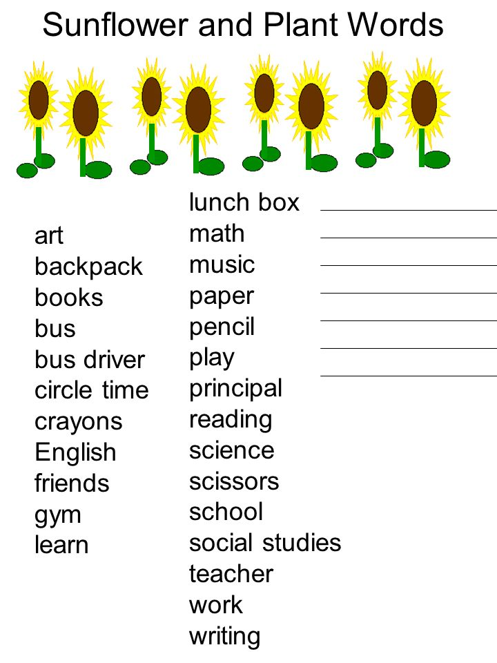 Sunflower and Plant Words art backpack books bus bus driver circle time crayons English friends gym learn lunch box math music paper pencil play princ