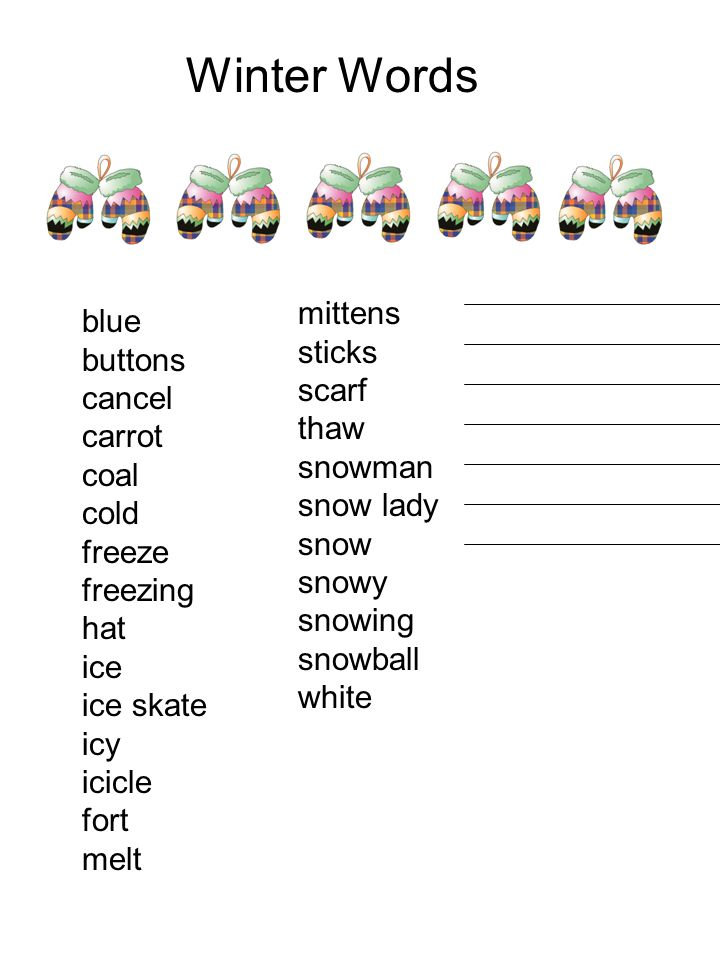 Winter Words mittens sticks scarf thaw snowman snow lady snow snowy snowing snowball white blue buttons cancel carrot coal cold freeze freezing hat ic