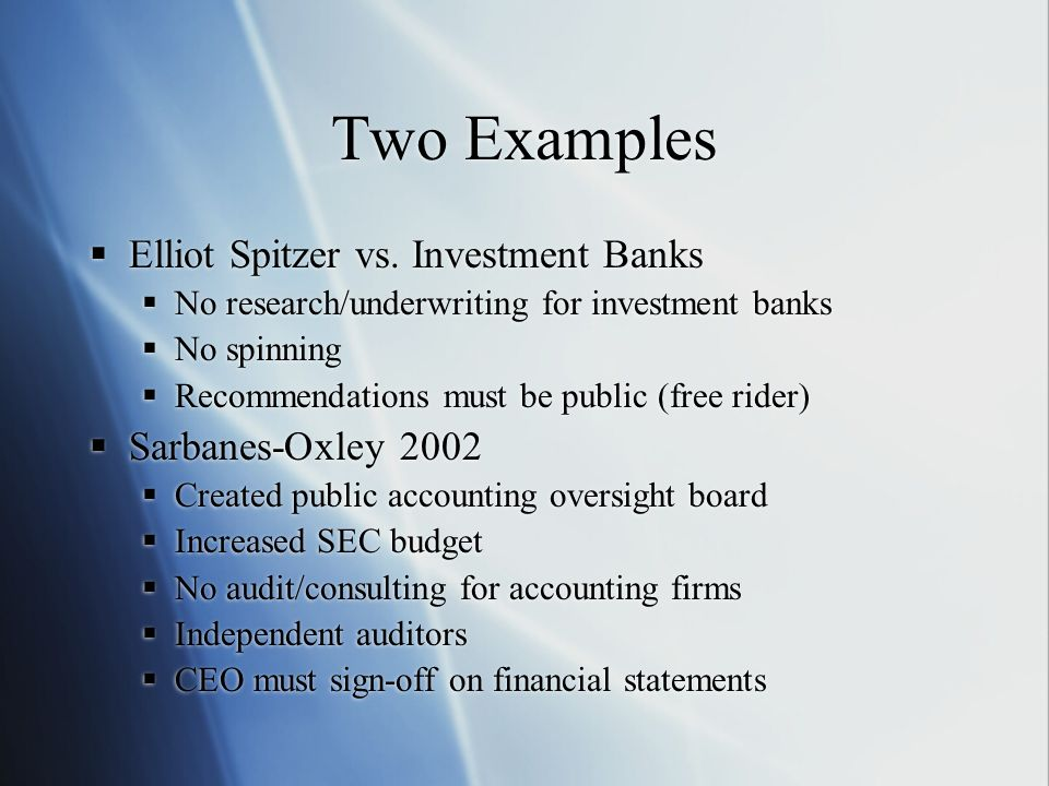 Two Examples Elliot Spitzer vs.