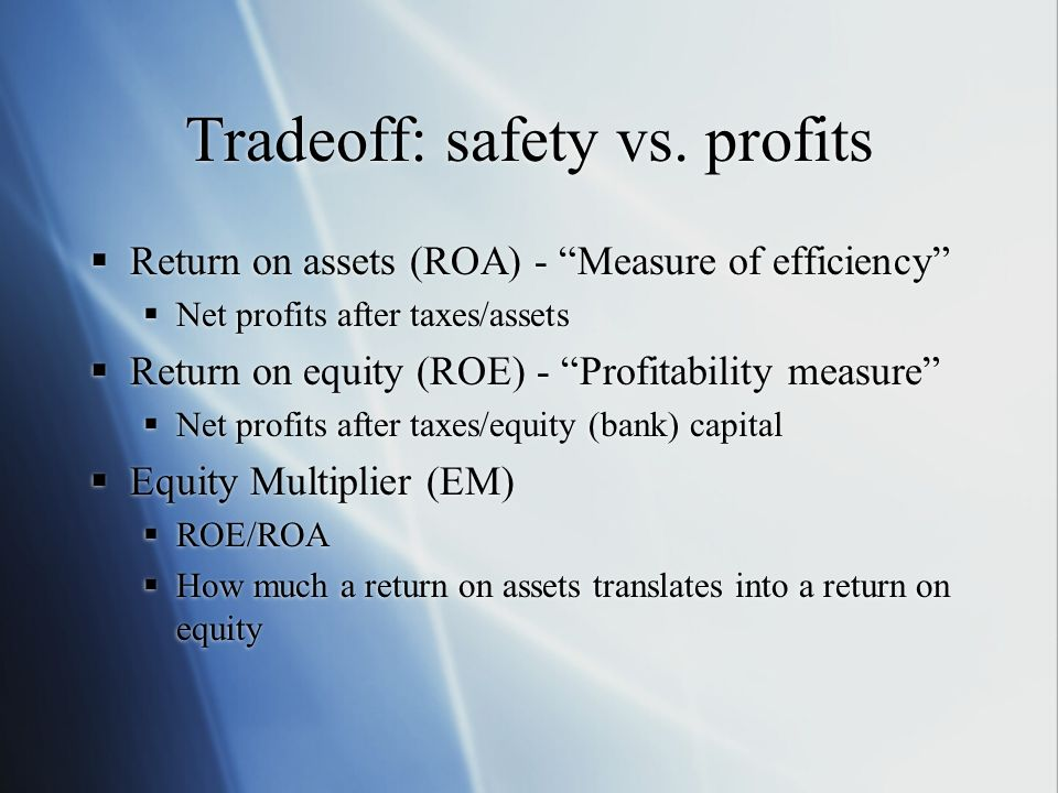 Tradeoff: safety vs. profits Return on assets (ROA) - Measure of efficiency Net profits after taxes/assets Return on equity (ROE) - Profitability meas