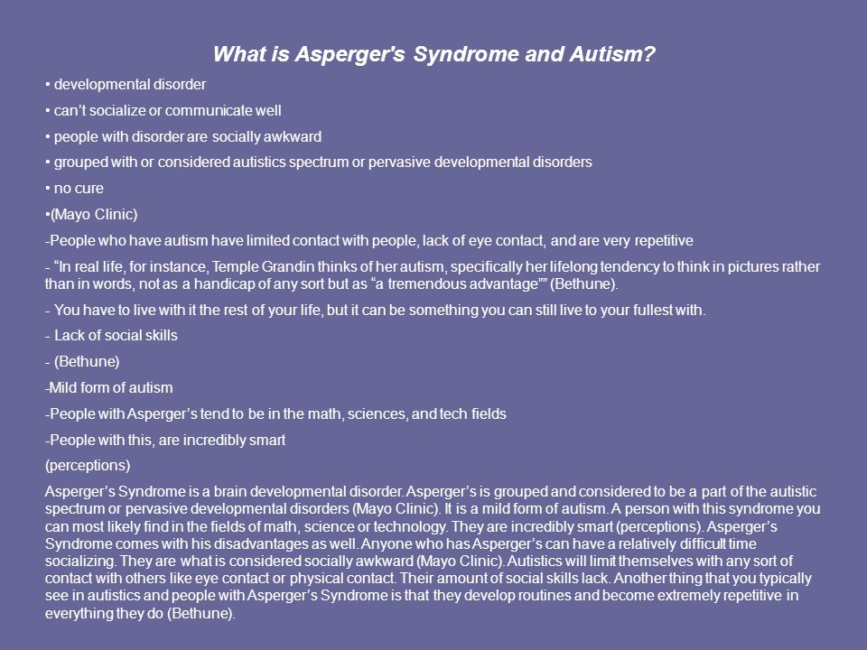 What is Asperger s Syndrome and Autism.