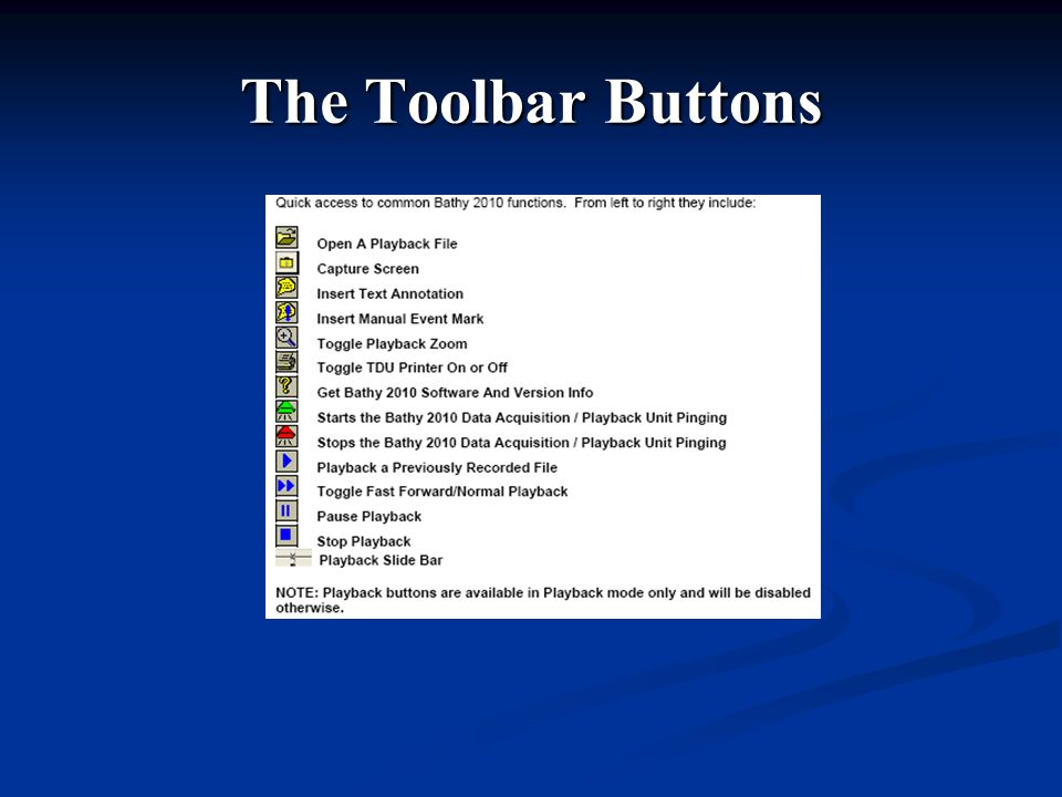 The Toolbar Buttons