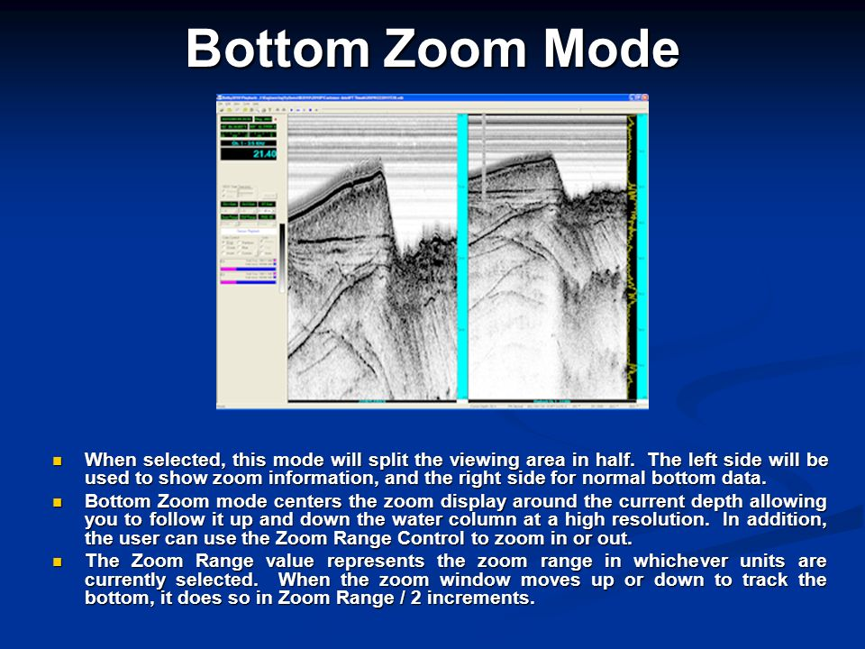 Bottom Zoom Mode When selected, this mode will split the viewing area in half. The left side will be used to show zoom information, and the right side