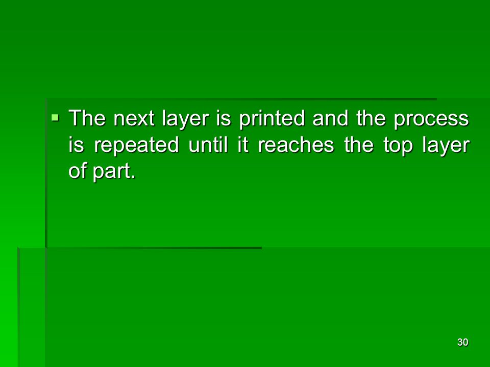 The next layer is printed and the process is repeated until it reaches the top layer of part. The next layer is printed and the process is repeated un