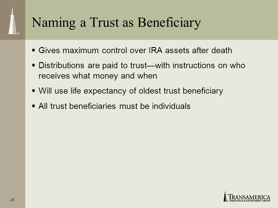 28 Naming a Charity as Beneficiary Name charity(ies) as sole beneficiary(ies) of your IRA Purchase enough life insurance to give similar benefit to yo