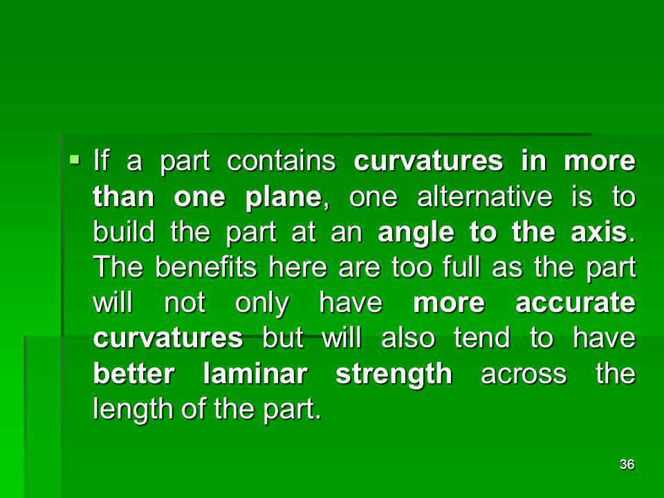 If a part contains curvatures in more than one plane, one alternative is to build the part at an angle to the axis. The benefits here are too full as