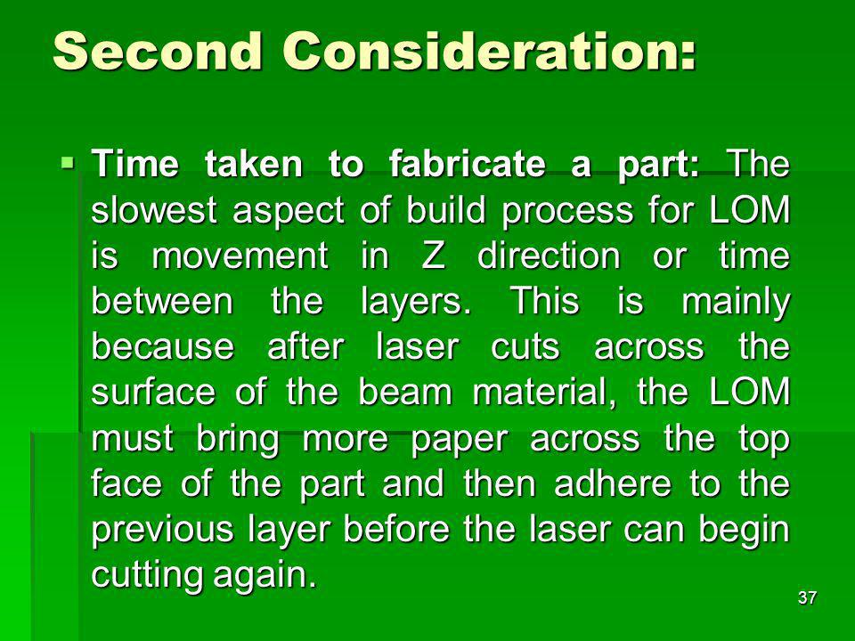 Second Consideration: Time taken to fabricate a part: The slowest aspect of build process for LOM is movement in Z direction or time between the layer