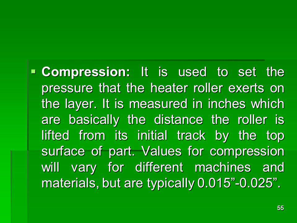 Compression: It is used to set the pressure that the heater roller exerts on the layer. It is measured in inches which are basically the distance the