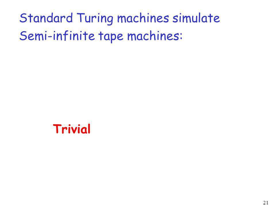 21 Standard Turing machines simulate Semi-infinite tape machines: Trivial