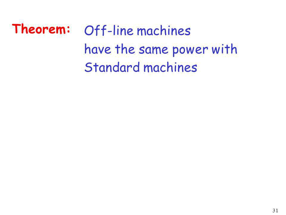 31 Off-line machines have the same power with Standard machines Theorem: