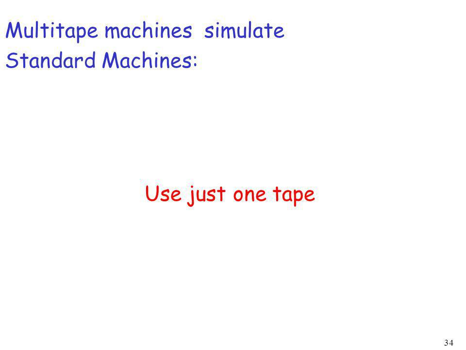 34 Multitape machines simulate Standard Machines: Use just one tape