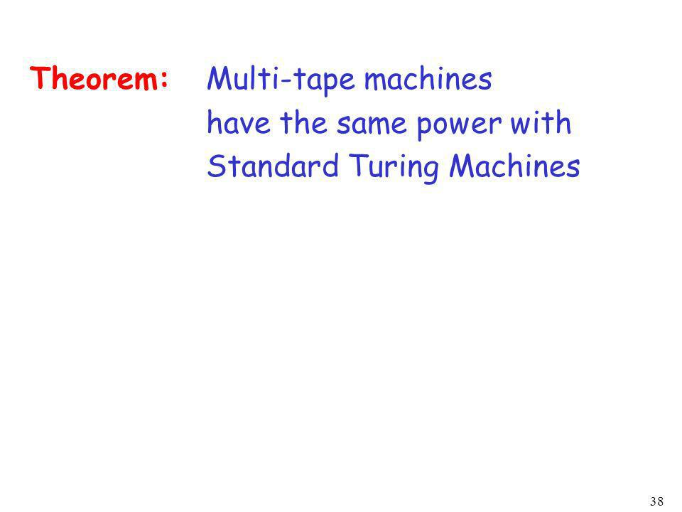 38 Theorem:Multi-tape machines have the same power with Standard Turing Machines