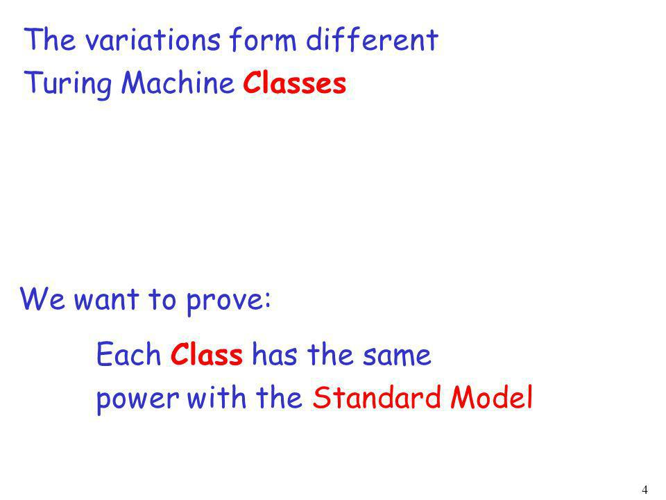 4 We want to prove: Each Class has the same power with the Standard Model The variations form different Turing Machine Classes