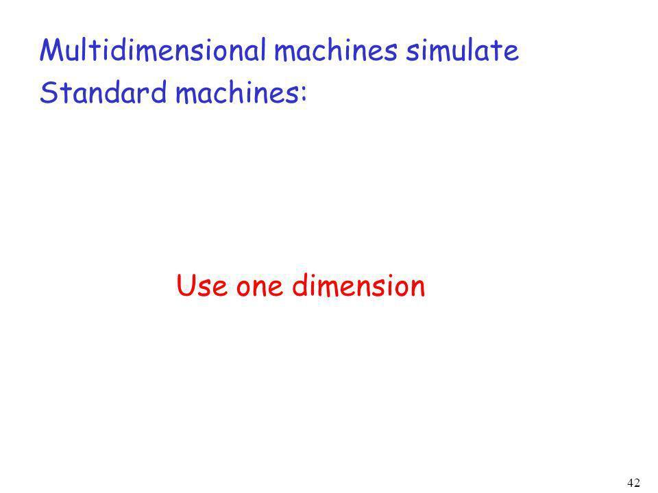 42 Multidimensional machines simulate Standard machines: Use one dimension
