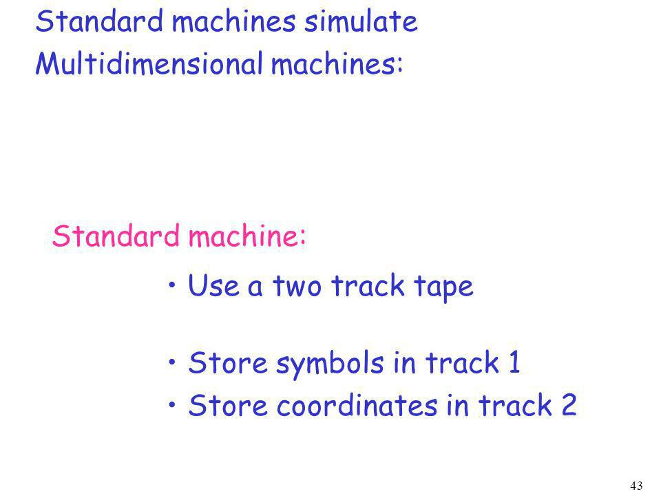 43 Standard machines simulate Multidimensional machines: Standard machine: Use a two track tape Store symbols in track 1 Store coordinates in track 2