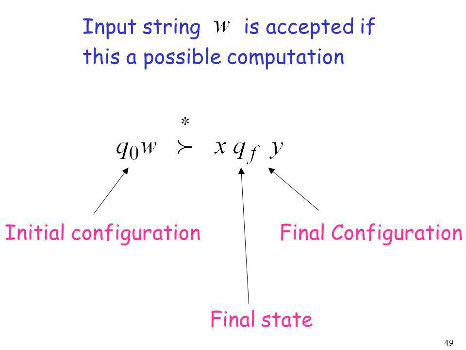 49 Input string is accepted if this a possible computation Initial configurationFinal Configuration Final state