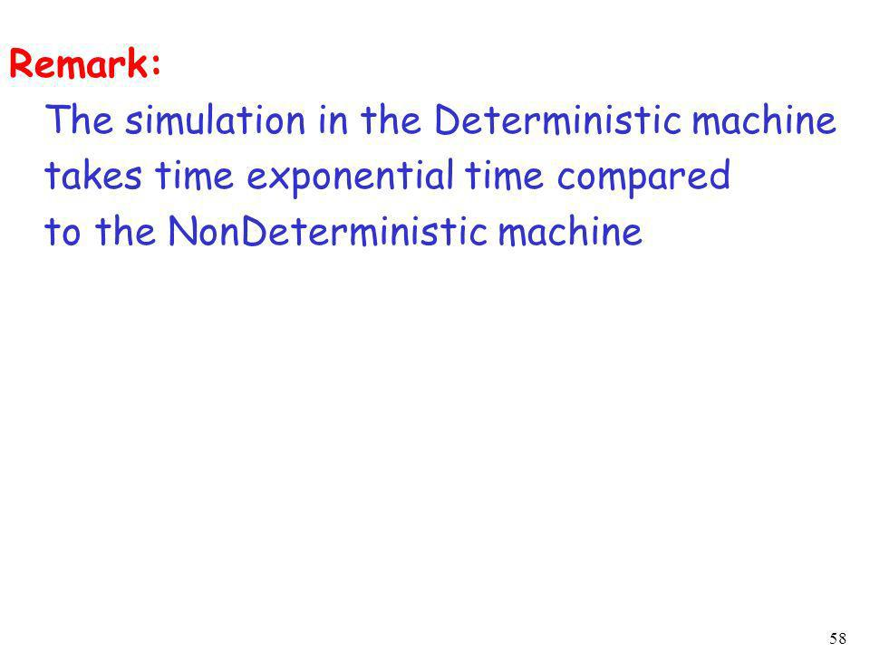 58 Remark: The simulation in the Deterministic machine takes time exponential time compared to the NonDeterministic machine