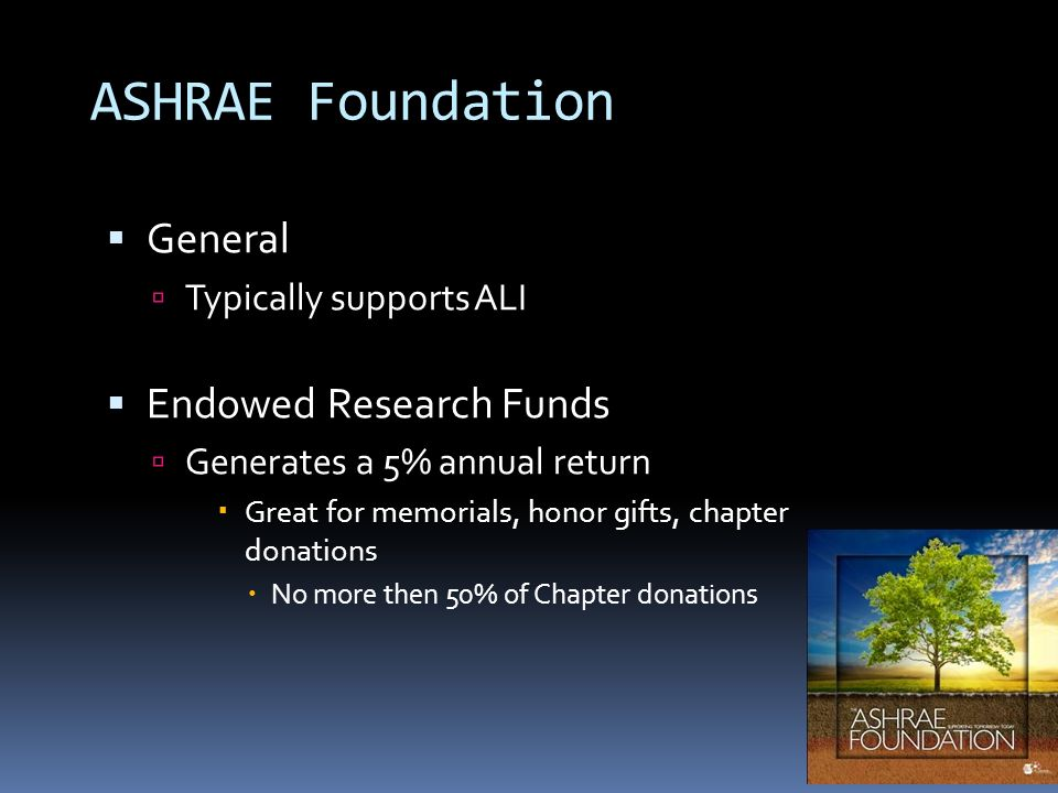 ASHRAE Foundation General Typically supports ALI Endowed Research Funds Generates a 5% annual return Great for memorials, honor gifts, chapter donatio