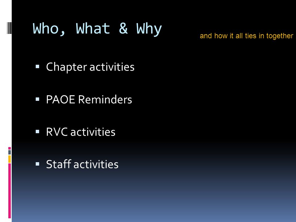 Who, What & Why Chapter activities PAOE Reminders RVC activities Staff activities and how it all ties in together